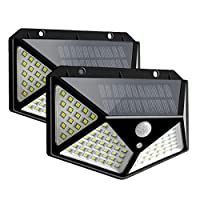 Ganeed Solar Lights Outdoor,Solar Motion Sensor Security Lights with 100 Led,IP65 Waterproof Solar Powered Wireless Wall Lights for Garden Patio Garage Fence Yard(3 Modes,6000K,2 Pack)