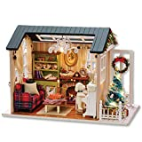 Decdeal DIY Christmas Miniature Dollhouse Kit Realistic Mini 3D Wooden House Room Craft with Furniture LED Lights Children's Day Birthday Gift Christmas Decoration