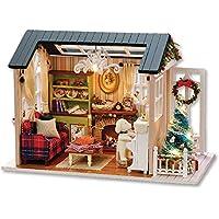 Decdeal DIY Casa de Muñecas en Miniatura de Navidad,Realista Mini 3D Casa de Madera Artesanal,con Muebles y Luces LED,Regalo de Cumpleaños del día de los Niños Decoración de Navidad