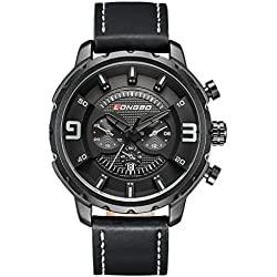 LONGBO Sportive Mens Unique Black Leather Band Military Big Face Watches Black Index Black Dial Auto Date Wristwatches Decorative Chrono Eyes Waterproof Business Analog Quartz Watch For Man
