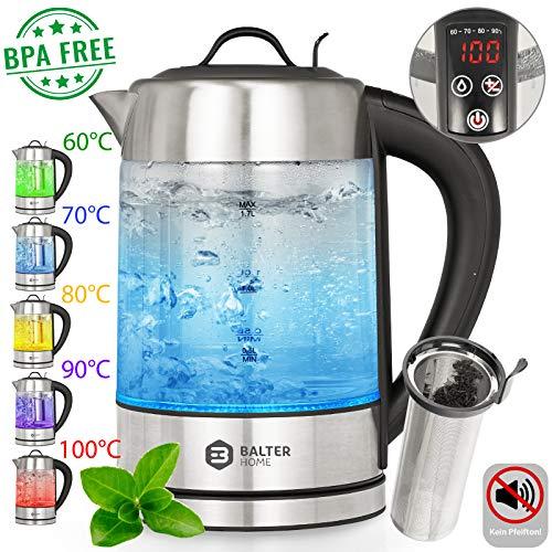 Balter Wasserkocher mit Temperaturwahl 60-100C° aus Edelstahl und Glas (mit Temperaturwahl inkl. Teesieb)