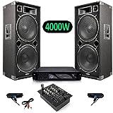 Pack Sono Enceintes 4000W MAX215 + SkyTec STM-2300 Table de mixage 2 canaux USB/MP3 + Ampli AX3000