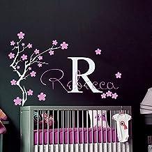 Pared carcasa para nombre Sakura Monogram árbol de nombre Diseño de chica con niños regalo en forma de cubo para diseño de flores de vinilo adhesivo decorativo para pared con texto Murales de niño bebé adhesivo decorativo para pared