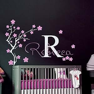 wandaufkleber f r m dchen pers nlich name sakura blumen baum wandtattoo monogramm mit namen. Black Bedroom Furniture Sets. Home Design Ideas
