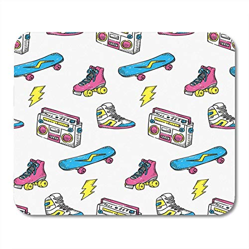 AOHOT Mauspads Colorful Pattern Vintage Sneakers Radio Skateboard and Roller Skate Boombox Pop Mouse pad 9.5