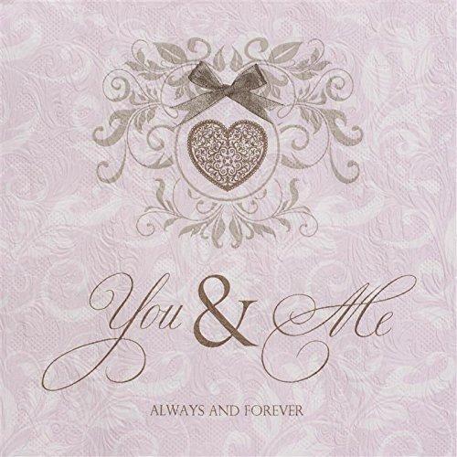 16 Servietten geprägt You and Me rose / rosa / Hochzeit / Prägung 33x33cm