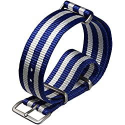 NATO G10 Nylon Military Watch Strap by ZULUDIVER® Satin, Blue and White, 22mm