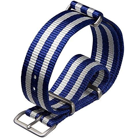Correa del reloj ZULUDIVER® nylon NATO Rayas azul/blanco 22mm