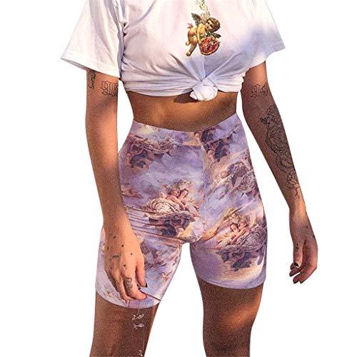 PorLous Förderung,Shorts, 2019 Damen Mode Frauen Elastische Taille Amor Engel Print Nachtclub Beiläufige Kurze Hosen Frühling Und Sommer Freizeit Hosen Shorts (Engel Superheld Kostüm)
