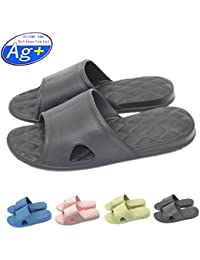c30493ddf13ac4 Happy Lily Women Men s Slip On Slippers Non-slip Shower Sandals House Mule  Soft Foams Sole Pool Shoes…