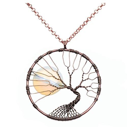 QGEM Baum des Lebens Trommelstein Anhänger Vollmond Opalite Handgefertigte Wire Wrap Bronze Halskette auf 18