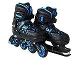 SportVida Inliner 2in1 Kinder Inline Skates Erwachsene | Verstellbare Schlittschuhe | Größenverstellbar ABEC7 Lager | Größen 33-40 | Schwarz Blau (Schwarz, 33-36)
