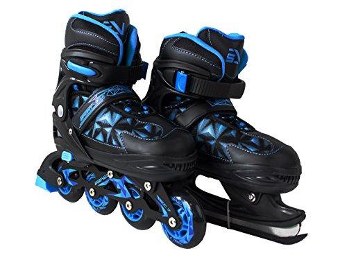 SportVida Inliner 2in1 Kinder Inline Skates Erwachsene | Verstellbare Schlittschuhe | Größenverstellbar ABEC7 Lager | Größen 33-40 | Schwarz Blau (Schwarz, 37-40)
