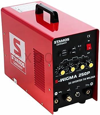 Stamos Germany - S-TIGMA 250P - Equipo de soldar TIG DC - MMA - Impulso - 230 V - max. 250 A - ED 60 % - HF - alta frecuencia - 11,0 kg