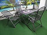 5-teilige Luxus Streckmetall Gartenmöbelgruppe von RRR, Klappsessel und Klapptisch 80x80 anthrazit, P26