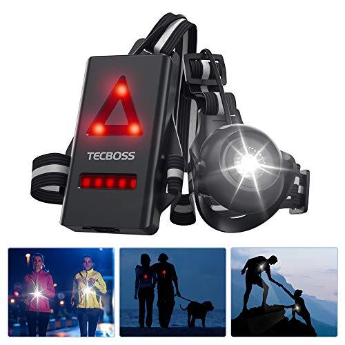 TECBOSS Lauflicht, Wiederaufladbare USB LED Lauflampe Sport, 500 Lumen Einstellbarer Abstrahlwinkel, 2 Beleuchtungsmodi für Läufer Jogger Sport im Freien Gehen Angeln Camping Wandern Klettern