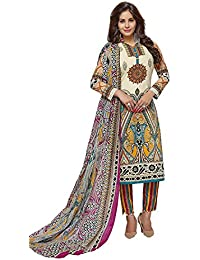 Baalar Women's Cotton Unstitched Dress Material (2014_Multicolor_Free Size By Onkar Trading)