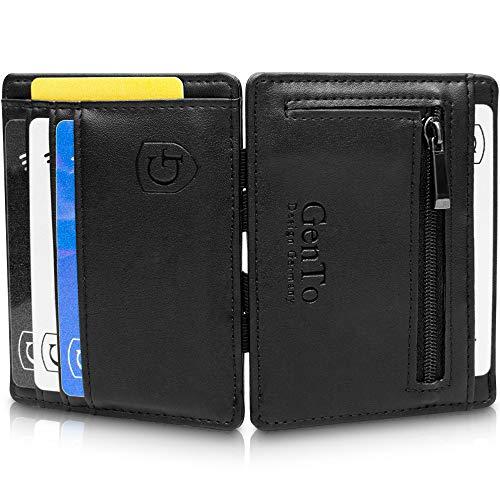 GenTo® Magic Wallet Vegas - TÜV geprüfter RFID, NFC Schutz - Dünne Geldbörse mit Münzfach - Geschenk für Damen und Herren mit Geschenkbox - erhältlich in 8 Farben | Design Germany (Schwarz Glatt) (Geldbörse Münzfach Geldbörse)