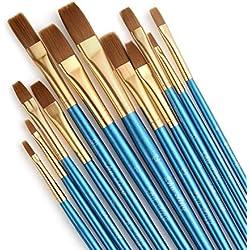 STARVAST pinceles de pintura, 12pcs artista pintura Pincel plano acrílico pincel conjunto de pintura de acrílico óleo acuarela-azul