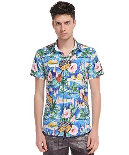 Baymate-Verano-Playa-Camisas-Hawaianas-Hombre-Casual-Manga-Corta-Tops