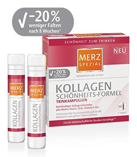 Merz Spezial Kollagen Schönheits-Formel Trinkampullen, Reichhaltiger Kollagen-Komplex mit Biotin, Niacin, Zink, Vitamin C & E, 14 x 25 ml