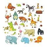 JUNMAONO Cartoon Tiere Dinosaurier Flamingos Giraffe Zebra Tiger Wandaufkleber//Wandbild Aufkleber/Wand Poster/Wandgemälde/Wandbilder/Wandtattoo/Pinupbild/Beschriftung/Pad einfügen/Tapete/Tapezieren/Tapeten/Wand Zeitung/Wandmalerei/Haftnotiz/Fühlen Sie sich frei zu kleben/Instant Aufkleber/3D-Stereo-Wandaufkleber
