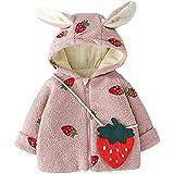 Carolilly Abrigo de manga larga para bebé, otoño e invierno, moderno, bordado de fresas, cálido, con orejas de conejo, de ter