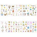 Naler Pasquali Adesivi Autoadesivi di Conigli, Uova e Pulcini per Bambini Adesivi Artigianatio Fai da Te Decorazione Arte, 20 Fogli