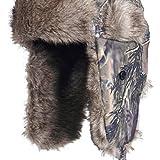Fladen Authentic Wear - Trapper-Hut für Thermische Winter Wärme mit Pelz Stirn Trimm - mit Druckknopf Schnellverschluss Kinn Riemen und Ohrenschützer - Camo, Large