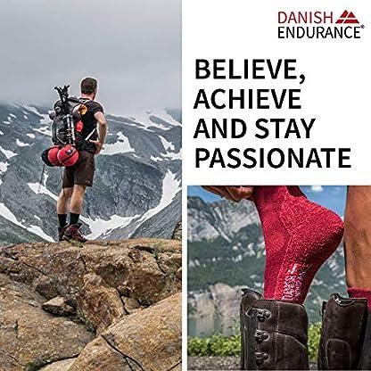 DANISH ENDURANCE Outdoor Walking Socks in Merino Wool for Men Women & Children, Hiking & Trekking, Work, 3 Pack Calf Socks in Brown, Red, Green, Blue, Grey, Black 8