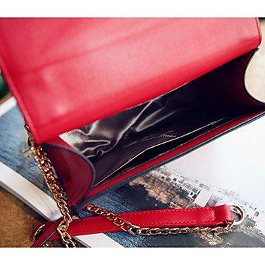 SUNNY KEY-Borsa a tracolla @ Donna Borsa a tracolla PU (Poliuretano) Per tutte le stagioni Casual Borchie Cerniera Con fermaglio Bianco Nero Rosso Rosa , white black