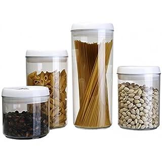 Aojia 4er Set rund Aufbewahrungsbehältern aus Kunststoff, 12,6x 8,19X 4,25cm