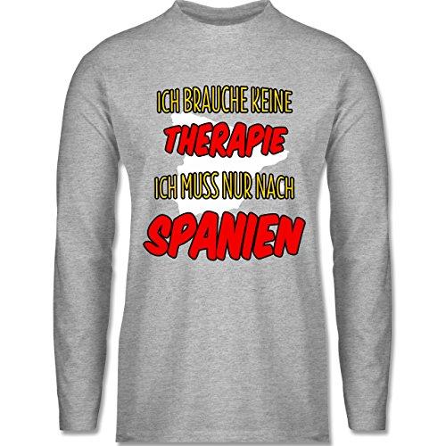 Shirtracer Länder - Ich Brauche Keine Therapie Ich muss Nur Nach Spanien - Herren Langarmshirt Grau Meliert