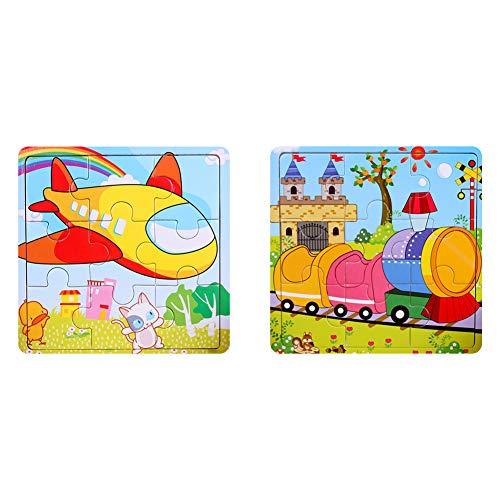 Holz Puzzles Spielzeug 9Pcs Holz Puzzle Board Kinder Bunte pädagogische Stichsägen Lernspielzeug für Kleinkinder und Kinder im Vorschulalter über 3 Jahre Flugzeug + Zug Puzzles Spielzeug 2Pack (Für Kinder Lernspielzeug Im Vorschulalter)