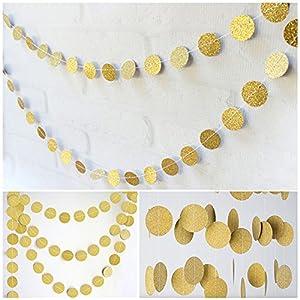 jijAcraft Gold Kreis Banner Girlande,16 M Glitter Papier Banner, hängende Wand Dekoration Bunting, Hochzeit Geburtstag Party Baby Shower Weihnachtsdekoration Banner