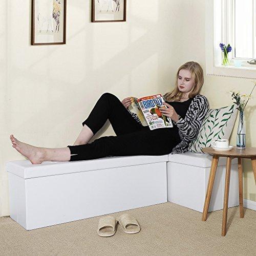 Songmics Sitztruhe 3-Sitzer Kunstleder, weiß, 110x38x38cm - 4