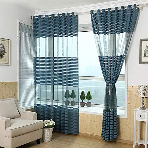 SS&LL Gestreifte Balkon vorhänge,Blickdicht gardinen Gardine aus Voile Halb-Voile vorhänge Thermisch isolierte vorhänge-Blau 140x240cm(55x94inch) -