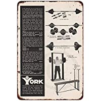 qidushop York Barbell Equipo de Gimnasio Pared Arte Rogue Fitness Reproducción Metal Sign para el hogar Pared Arte decoración Post Placa para Mujeres Hombres 30 x 45 cm