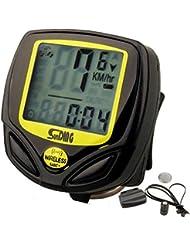 Ordenador para Bicicleta Inalámbrico Resistente al Agua Cuentakilómetros Velocímetro con Función de Activación Automática y LCD Retroiluminada