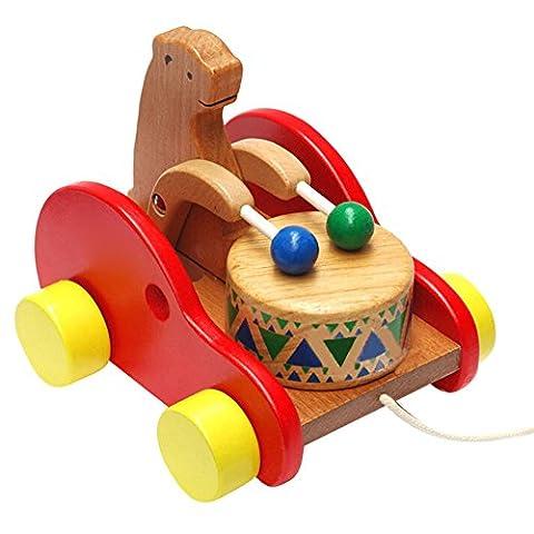 hibote Pull Along Spielzeug - Wooden Drum Bear Musik Bildung Spielzeug für Kleinkind First Walking
