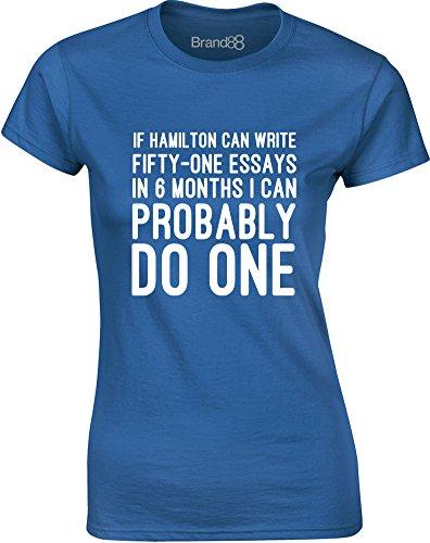 Brand88 - Essay Writer, Gedruckt Frauen T-Shirt Königsblau/Weiß