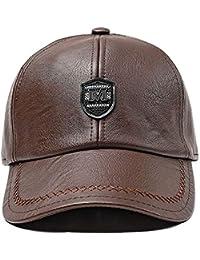 f2b747b6dd35f1 FENGFA Baseball Kappe Herren PU Leder Basecap Winter Cap with Ohrenklappen
