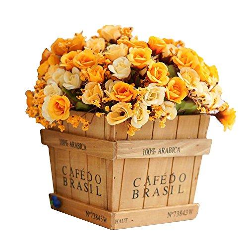 Artificial plantas madera jarrón con flores de seda bonito simulación Rose Hierba...