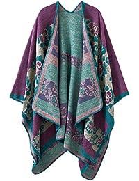 Urban GoCo Mujeres Cardigan de Punto con Bloques de Colores de Gran Tamaño Manta Poncho Abrigo Chal Bufanda (Floral Azul)