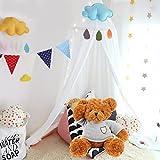 1Set OCEVEN Baby Baldachin Bett Kuppel Baumwoll Betthimmel Moskitonetz Spiel Zelt Gut für Baby Innen im Freienspiel Lese Schlafzimmer Ankleidezimmer Höhe 240cm(Weiß)