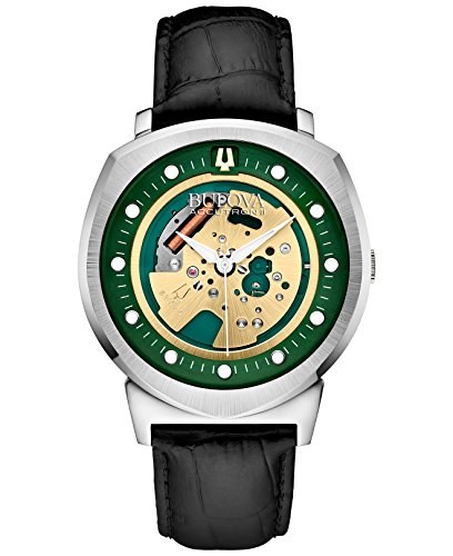 bulova-accutron-ii-mens-quartz-watch-with-green-dial-analogue-display-and-black-leather-strap