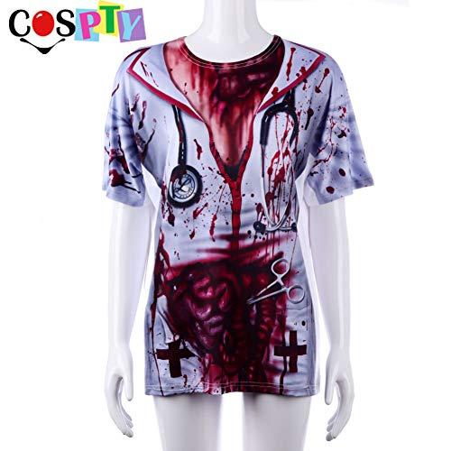 Krankenschwester Männliche Kostüm Sexy - HalloweenErwachsene Scary Bloody Printed 3D Kostüm Krankenschwester Arzt Kleidung Top Cosplay Halloween T-Shirt für Männer und Frauen