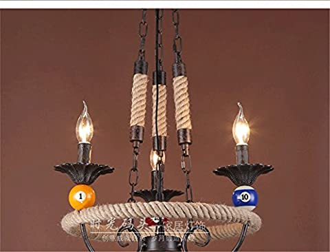 Sparkling FRD American Countryside Living Room Light Restaurant Cafe Creative Personality Retro Industrial Chandelier Iron Knit Heated Chandelier,50 * 75cm