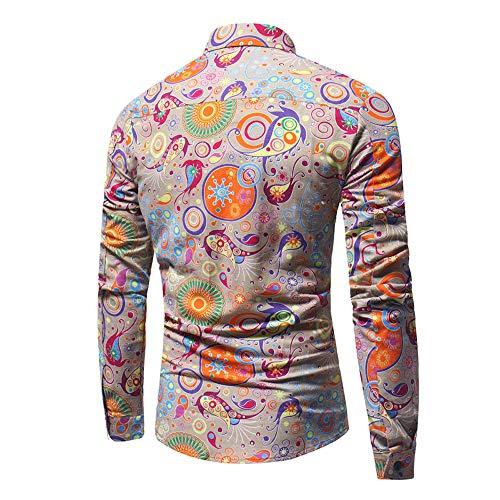♫♫ Amlaiworld weich Baumwolle Mode Hemd bunt Muster drucken Langarmshirts Herbst Frühling Freizeit Oberteile Outdoor Büro Männer Pullis - Oversize-rechner