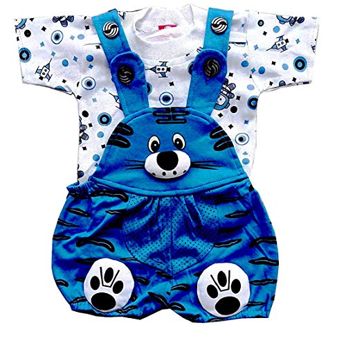SAS Baby Girl Baby Boys Dungaree Set for Kids, a Fashioned Product,Print of t Shirt Might Differ (Blue, 6-12 Months)